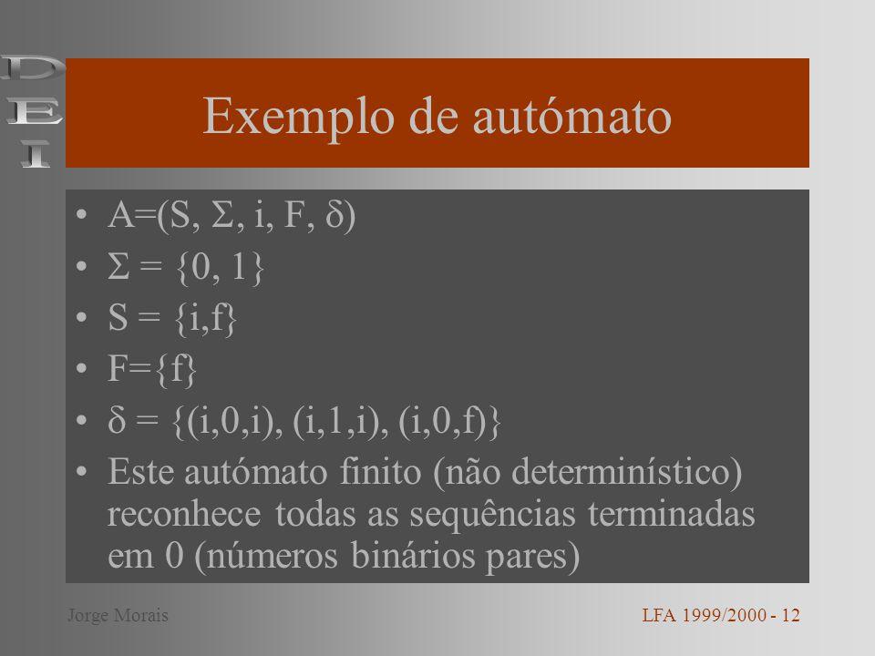 Exemplo de autómato A=(S,, i, F, ) = {0, 1} S = {i,f} F={f} = {(i,0,i), (i,1,i), (i,0,f)} Este autómato finito (não determinístico) reconhece todas as