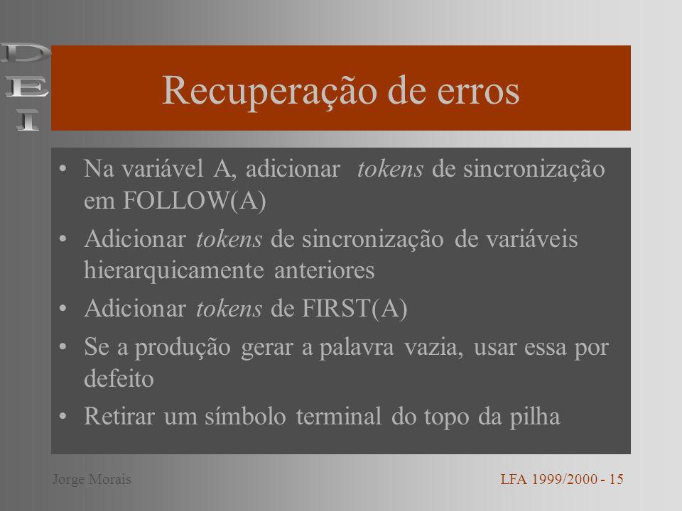 Recuperação de erros Na variável A, adicionar tokens de sincronização em FOLLOW(A) Adicionar tokens de sincronização de variáveis hierarquicamente ant