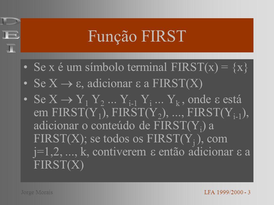 Função FIRST Se x é um símbolo terminal FIRST(x) = {x} Se X, adicionar a FIRST(X) Se X Y 1 Y 2... Y i-1 Y i... Y k, onde está em FIRST(Y 1 ), FIRST(Y