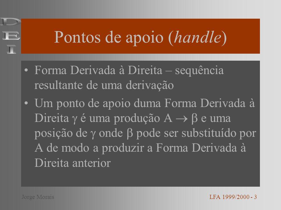 Pontos de apoio (handle) Forma Derivada à Direita – sequência resultante de uma derivação Um ponto de apoio duma Forma Derivada à Direita é uma produção A e uma posição de onde pode ser substituído por A de modo a produzir a Forma Derivada à Direita anterior LFA 1999/2000 - 3Jorge Morais