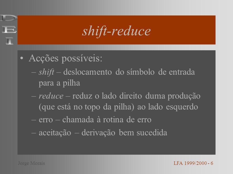 shift-reduce Acções possíveis: –shift – deslocamento do símbolo de entrada para a pilha –reduce – reduz o lado direito duma produção (que está no topo da pilha) ao lado esquerdo –erro – chamada à rotina de erro –aceitação – derivação bem sucedida LFA 1999/2000 - 6Jorge Morais