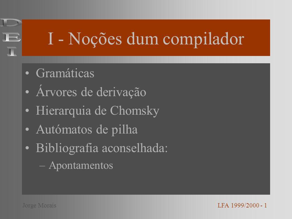 Gramática Uma gramática é um vector G = (V,, P, S) onde: –V conjunto finito - variáveis (símbolos não terminais) – conjunto finito - alfabeto –P (V ) + x (V ) * - conjunto de produções –S V - símbolo inicial LFA 1999/2000 - 2Jorge Morais