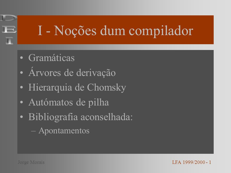 Exemplo 2 L(G) = {u * : u = a n (a+b+c)b n, n 1}, G= (V,, P, S), V = {S, T}, = {a, b, c} Produções: –S aSb | T –T a | b | c LFA 1999/2000 - 12Jorge Morais