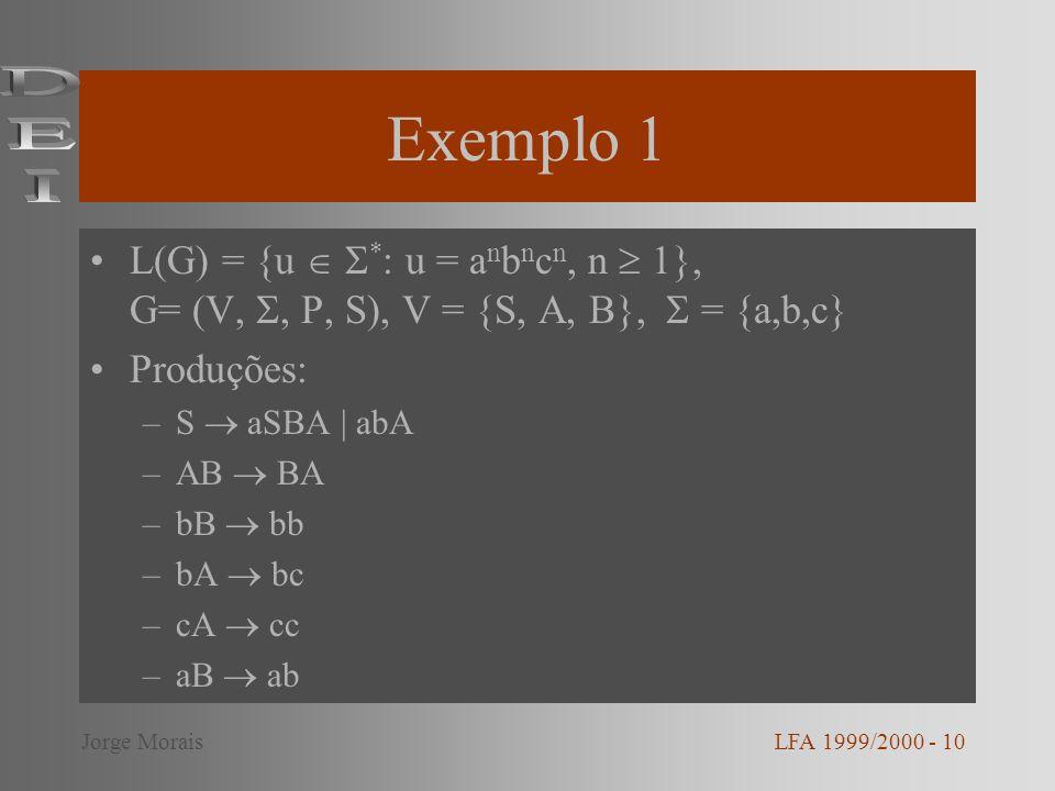 Exemplo 1 L(G) = {u * : u = a n b n c n, n 1}, G= (V,, P, S), V = {S, A, B}, = {a,b,c} Produções: –S aSBA | abA –AB BA –bB bb –bA bc –cA cc –aB ab LFA