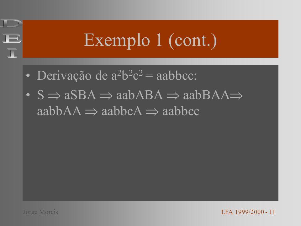 Exemplo 1 (cont.) Derivação de a 2 b 2 c 2 = aabbcc: S aSBA aabABA aabBAA aabbAA aabbcA aabbcc LFA 1999/2000 - 11Jorge Morais