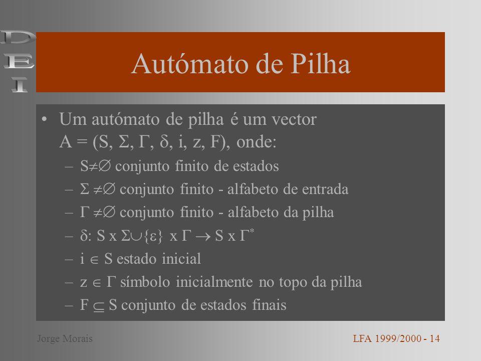Autómato de Pilha Um autómato de pilha é um vector A = (S,,,, i, z, F), onde: –S conjunto finito de estados – conjunto finito - alfabeto de entrada –