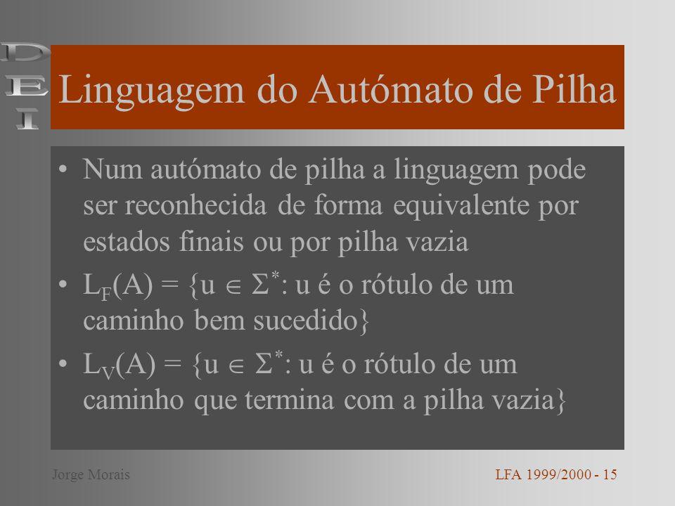 Linguagem do Autómato de Pilha Num autómato de pilha a linguagem pode ser reconhecida de forma equivalente por estados finais ou por pilha vazia L F (