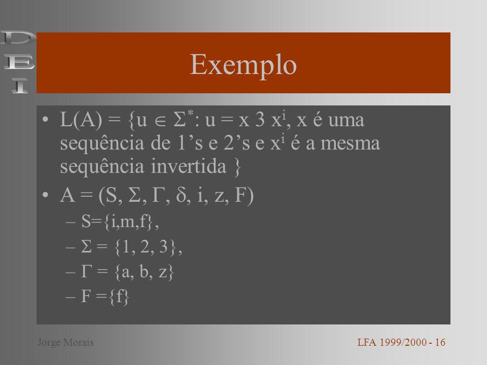 Exemplo L(A) = {u * : u = x 3 x i, x é uma sequência de 1s e 2s e x i é a mesma sequência invertida } A = (S,,,, i, z, F) –S={i,m,f}, – = {1, 2, 3}, –