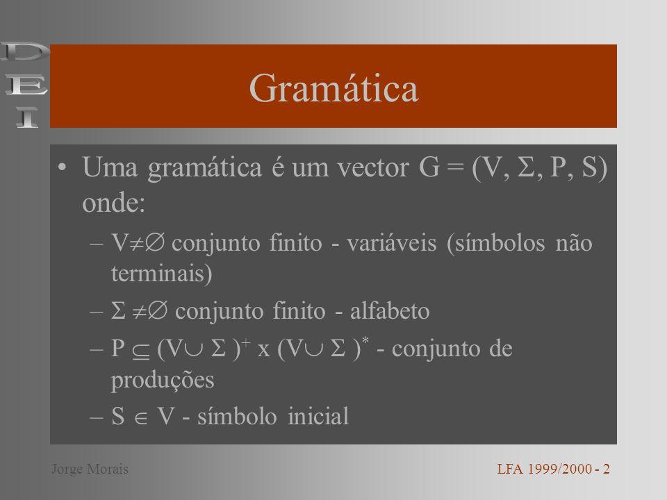Produções duma gramática Uma produção representa-se habitualmente na forma Escrevemos que u v, se u=x y e v=x y, com x,y (V ) * e P Escrevemos que u * v (v deriva de u), se u = v ou se u w 1 w 2...