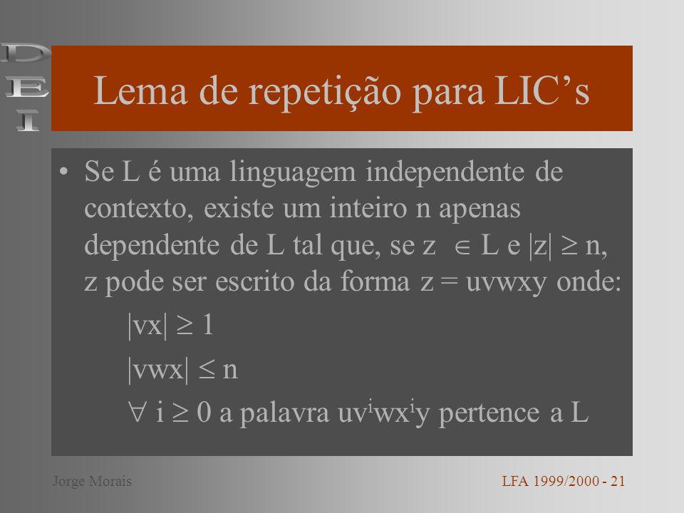 Lema de repetição para LICs Se L é uma linguagem independente de contexto, existe um inteiro n apenas dependente de L tal que, se z L e |z| n, z pode