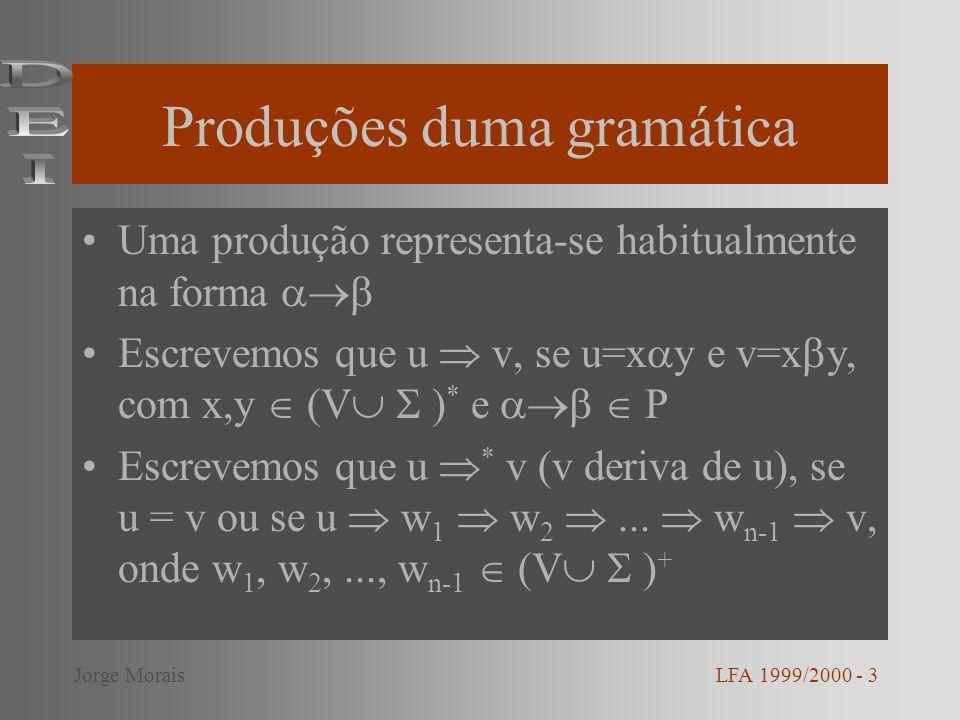 Autómato de Pilha Um autómato de pilha é um vector A = (S,,,, i, z, F), onde: –S conjunto finito de estados – conjunto finito - alfabeto de entrada – conjunto finito - alfabeto da pilha – : S x { } x S x * –i S estado inicial –z símbolo inicialmente no topo da pilha –F S conjunto de estados finais LFA 1999/2000 - 14Jorge Morais