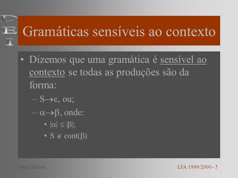 Gramáticas independentes de contexto Dizemos que uma gramática é independente de contexto se todas as produções são da forma: –A, onde: A V; (V ) * LFA 1999/2000 - 6Jorge Morais