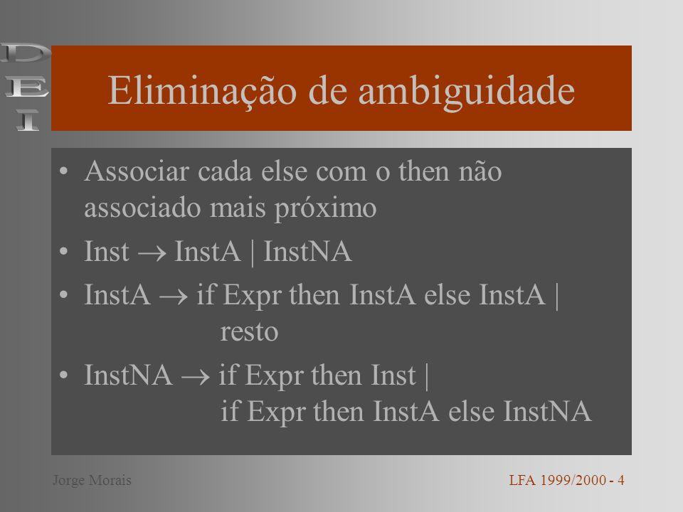 Precedência de operadores Consideremos a gramática: –E E + E | E - E | E * E | E / E | ( E ) | id Pode-se eliminar a ambiguidade determinando a precedência de operadores: –E E + T | E - T | T –T T * F | T / F | F –F ( E ) | id LFA 1999/2000 - 5Jorge Morais