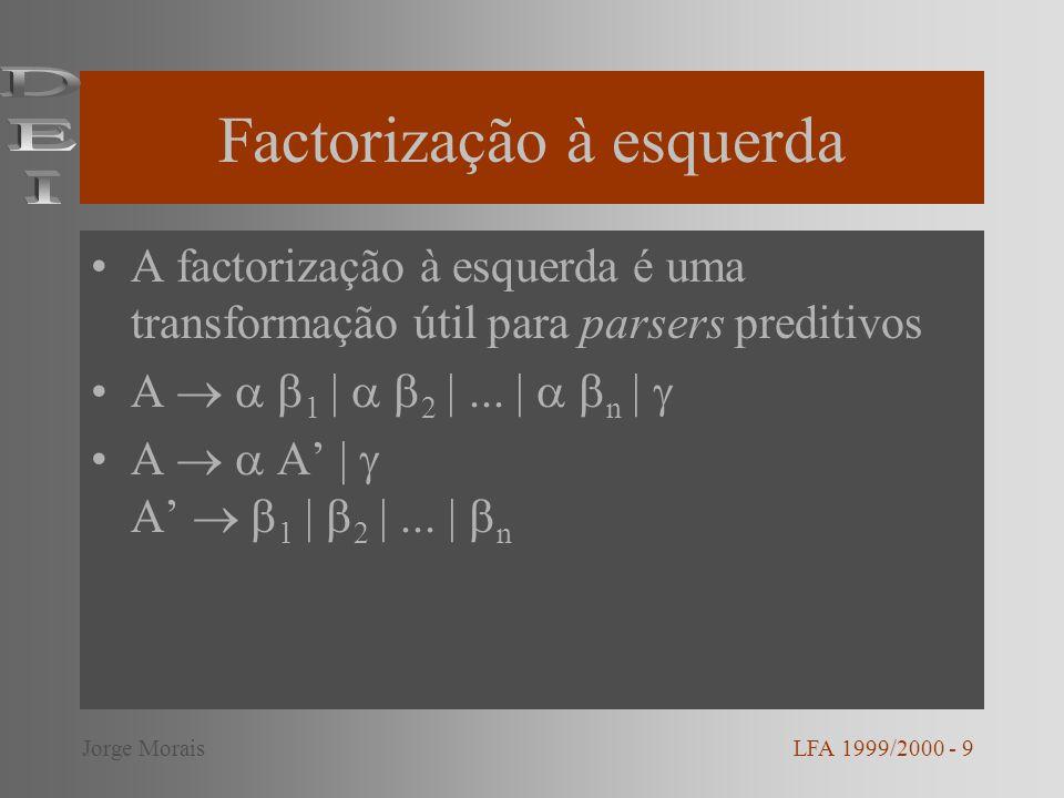 Factorização à esquerda A factorização à esquerda é uma transformação útil para parsers preditivos A 1 | 2 |... | n | A A | A 1 | 2 |... | n LFA 1999/