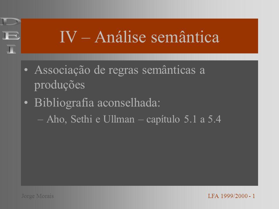 IV – Análise semântica Associação de regras semânticas a produções Bibliografia aconselhada: –Aho, Sethi e Ullman – capítulo 5.1 a 5.4 LFA 1999/2000 -