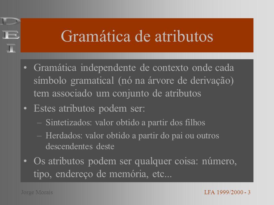 Gramática de atributos Gramática independente de contexto onde cada símbolo gramatical (nó na árvore de derivação) tem associado um conjunto de atribu