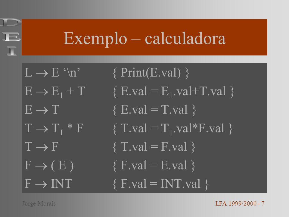 Exemplo – calculadora L E \n{ Print(E.val) } E E 1 + T{ E.val = E 1.val+T.val } E T{ E.val = T.val } T T 1 * F{ T.val = T 1.val*F.val } T F{ T.val = F