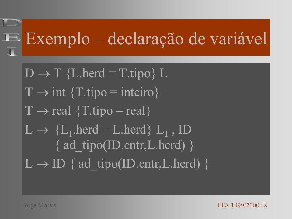 Exemplo – declaração de variável D T {L.herd = T.tipo} L T int {T.tipo = inteiro} T real {T.tipo = real} L {L 1.herd = L.herd} L 1, ID { ad_tipo(ID.en