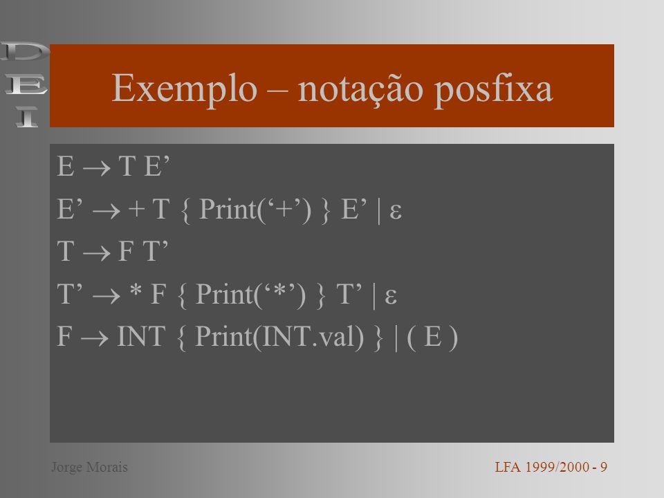 Exemplo – notação posfixa E T E E + T { Print(+) } E | T F T T * F { Print(*) } T | F INT { Print(INT.val) } | ( E ) LFA 1999/2000 - 9Jorge Morais