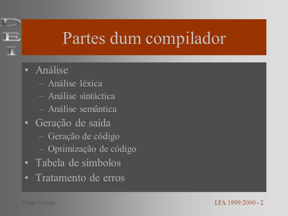 Partes dum compilador Análise –Análise léxica –Análise sintáctica –Análise semântica Geração de saída –Geração de código –Optimização de código Tabela de símbolos Tratamento de erros LFA 1999/2000 - 2Jorge Morais