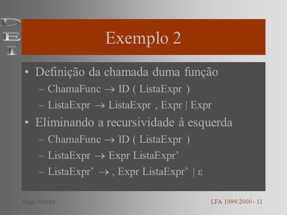 Exemplo 2 Definição da chamada duma função –ChamaFunc ID ( ListaExpr ) –ListaExpr ListaExpr, Expr | Expr Eliminando a recursividade à esquerda –ChamaF