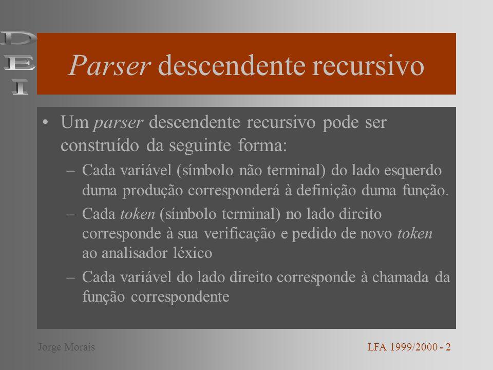 Exemplo – função listaexpr( ) /* ListaExpr Expr ListaExpr */ listaexpr( ) { expr(); listaexpr2(); } LFA 1999/2000 - 13Jorge Morais