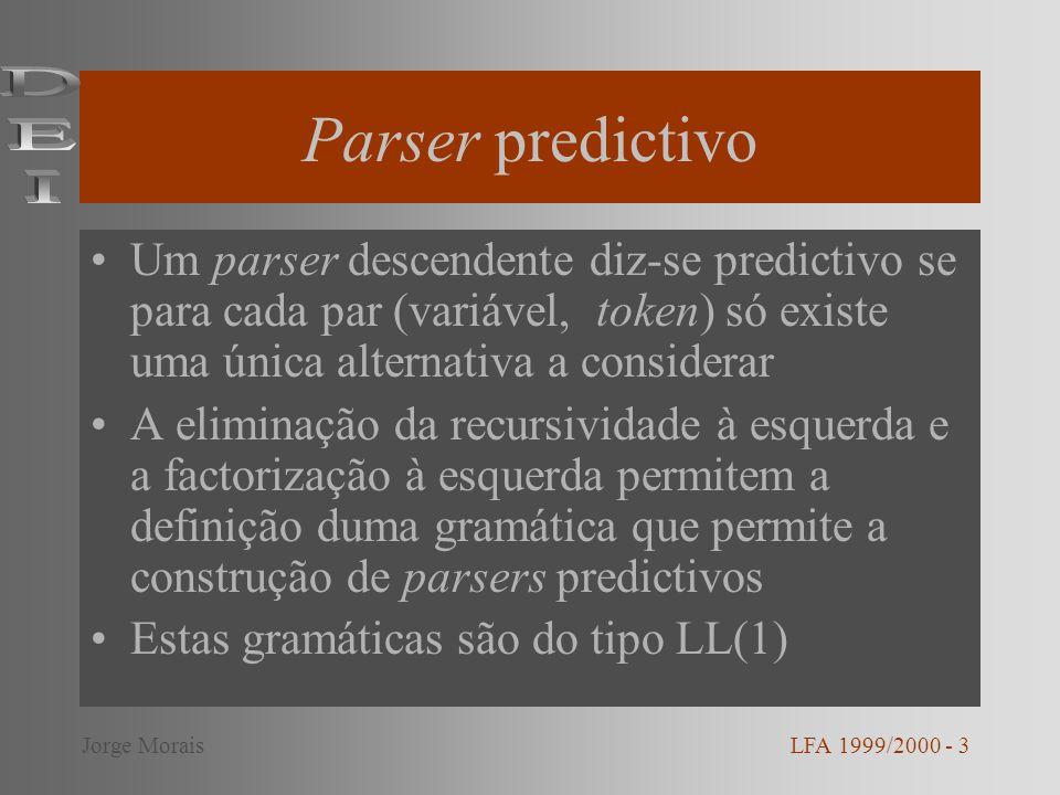 Exemplo – função listaexpr2( ) /* ListaExpr, Expr ListaExpr | */ listaexpr2() { if(token = = VIRG){ token = next_token(); expr( ); listaexpr2( ); } LFA 1999/2000 - 14Jorge Morais