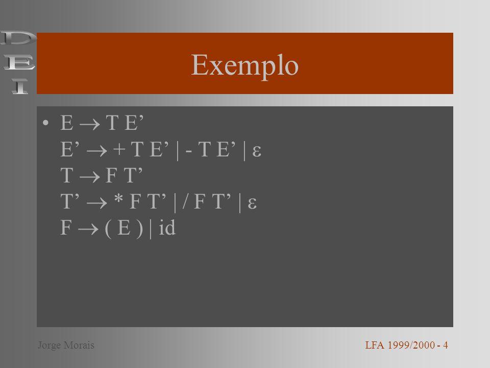 Exemplo – função e( ) /* E T E */ e( ) { t( ); e2( ); } LFA 1999/2000 - 5Jorge Morais