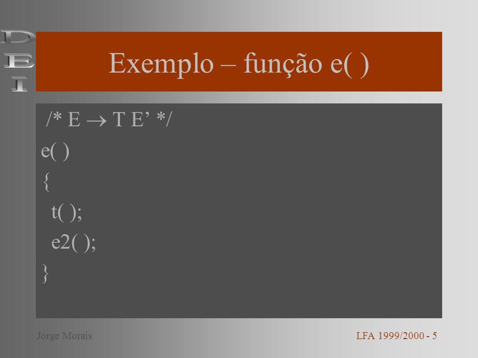 Exemplo – função e2( ) /* E + T E | - T E | */ e2( ) { if(token = = MAIS || token = = MENOS){ token = next_token( ); t( ); e2( ); } LFA 1999/2000 - 6Jorge Morais