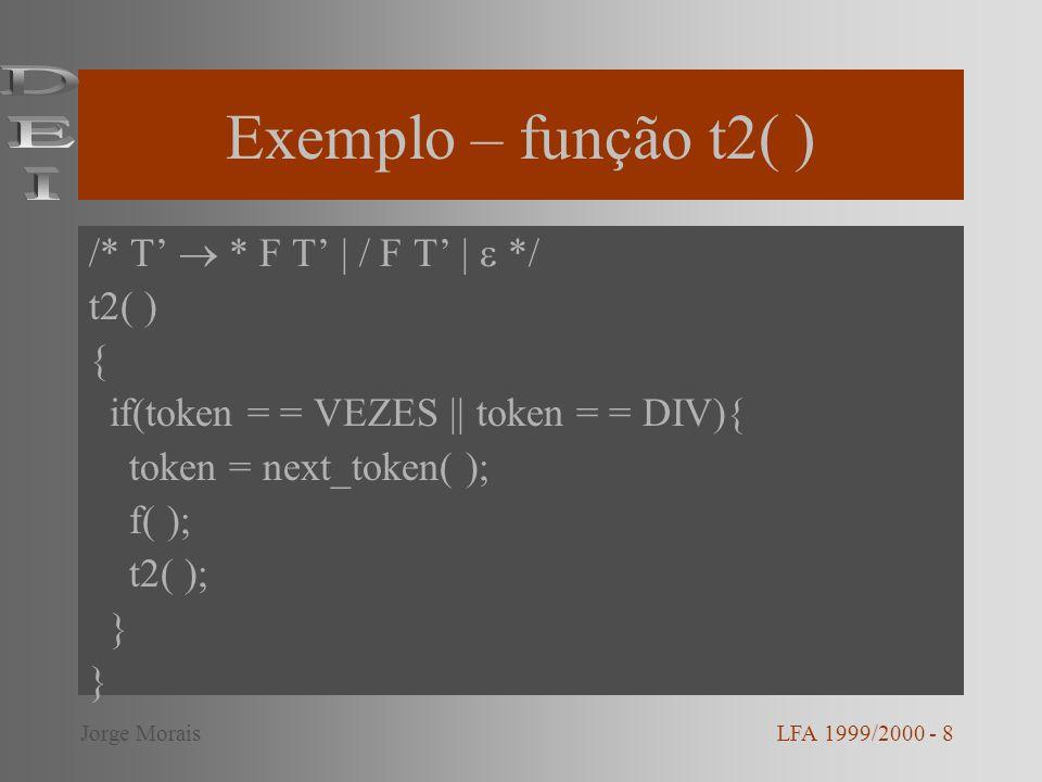 Exemplo – função t2( ) /* T * F T | / F T | */ t2( ) { if(token = = VEZES || token = = DIV){ token = next_token( ); f( ); t2( ); } LFA 1999/2000 - 8Jo