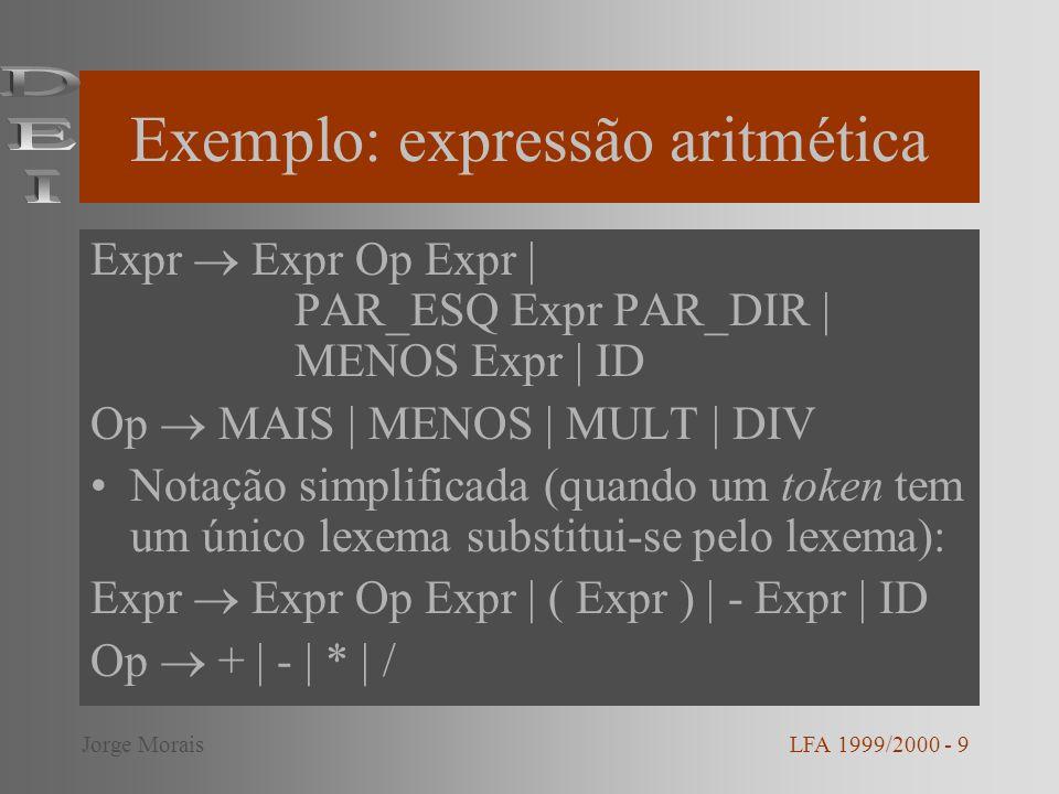 Derivação de x * (y + z) Expr Expr Op Expr ID Op Exp ID * Expr ID * ( Expr ) ID * ( Expr Op Expr ) ID * ( ID Op Expr ) ID * ( ID + Expr) ID * ( ID + ID ) A cada ID corresponde um endereço na tabela de símbolos LFA 1999/2000 - 10Jorge Morais