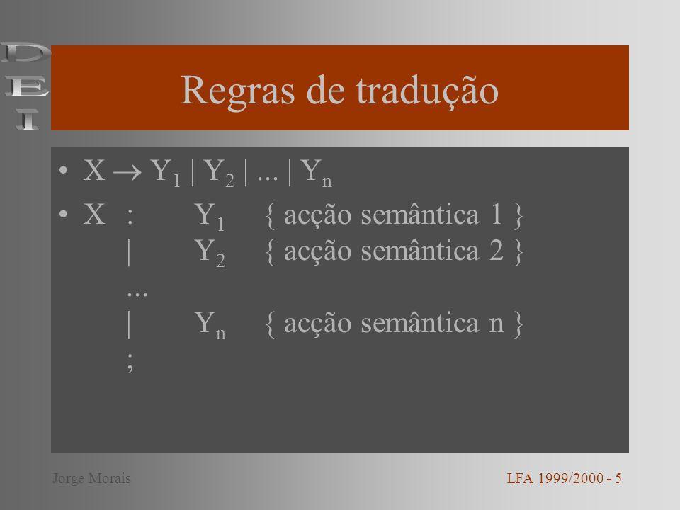 Regras de tradução X Y 1 | Y 2 |... | Y n X:Y 1 { acção semântica 1 } |Y 2 { acção semântica 2 }...