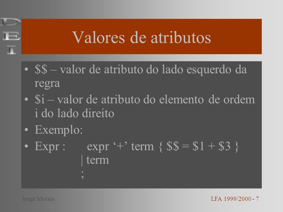 Valores de atributos $$ – valor de atributo do lado esquerdo da regra $i – valor de atributo do elemento de ordem i do lado direito Exemplo: Expr : expr + term { $$ = $1 + $3 } | term ; LFA 1999/2000 - 7Jorge Morais