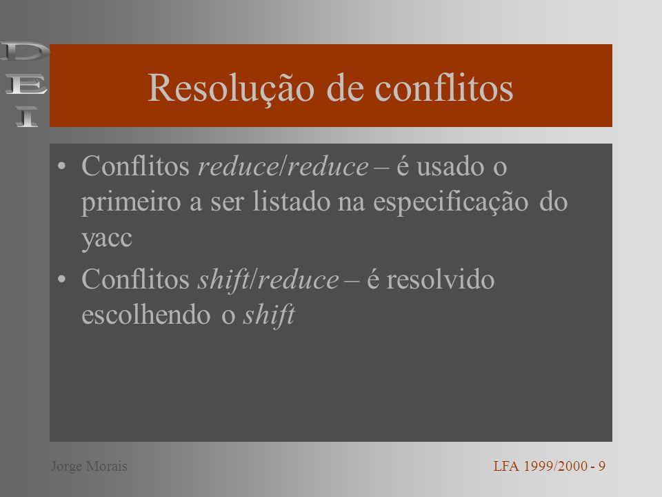 Associatividade e precedência Associatividade: %left + - %right ^ %noassoc < Precedência: %prec terminal LFA 1999/2000 - 10Jorge Morais