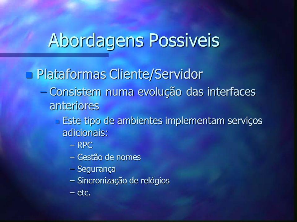 Abordagens Possiveis n Plataformas Cliente/Servidor –Consistem numa evolução das interfaces anteriores n Este tipo de ambientes implementam serviços a