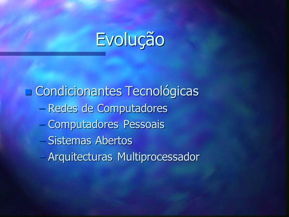 Evolução n Condicionantes Tecnológicas –Redes de Computadores –Computadores Pessoais –Sistemas Abertos –Arquitecturas Multiprocessador