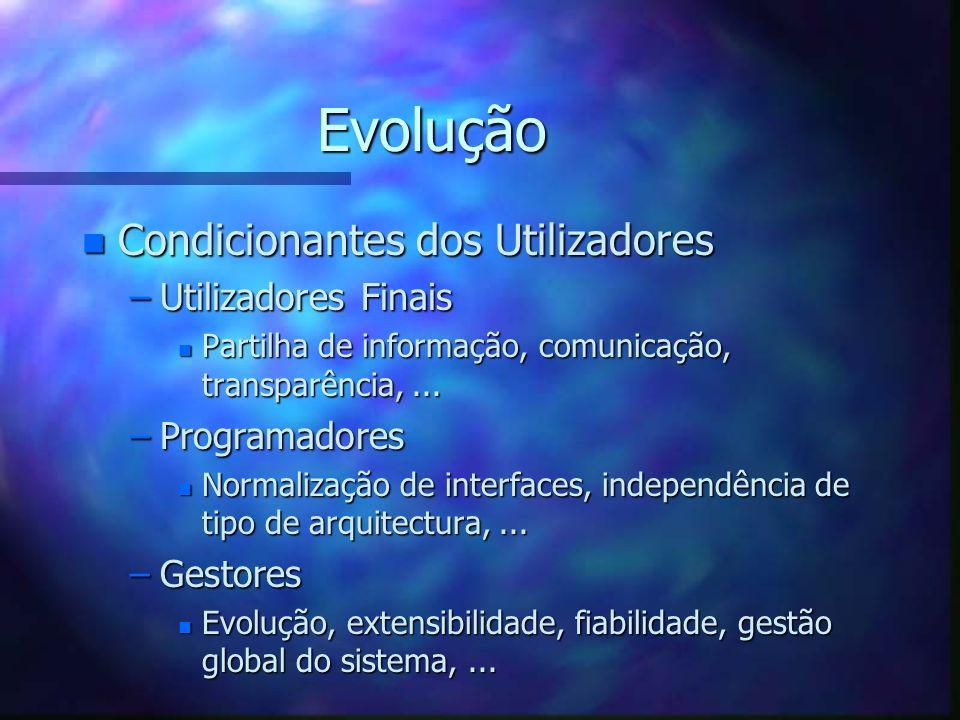Evolução n Condicionantes dos Utilizadores –Utilizadores Finais n Partilha de informação, comunicação, transparência,... –Programadores n Normalização