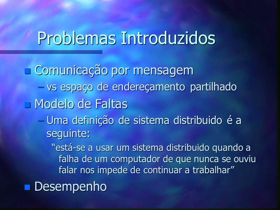 Problemas Introduzidos n Comunicação por mensagem –vs espaço de endereçamento partilhado n Modelo de Faltas –Uma definição de sistema distribuido é a