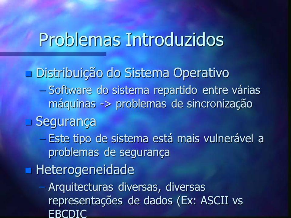 Problemas Introduzidos n Distribuição do Sistema Operativo –Software do sistema repartido entre várias máquinas -> problemas de sincronização n Segura