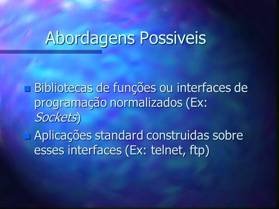 Abordagens Possiveis n Bibliotecas de funções ou interfaces de programação normalizados (Ex: Sockets) n Aplicações standard construidas sobre esses in
