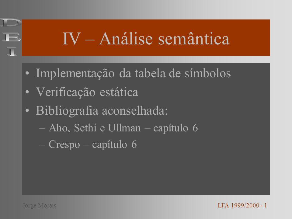 IV – Análise semântica Implementação da tabela de símbolos Verificação estática Bibliografia aconselhada: –Aho, Sethi e Ullman – capítulo 6 –Crespo –