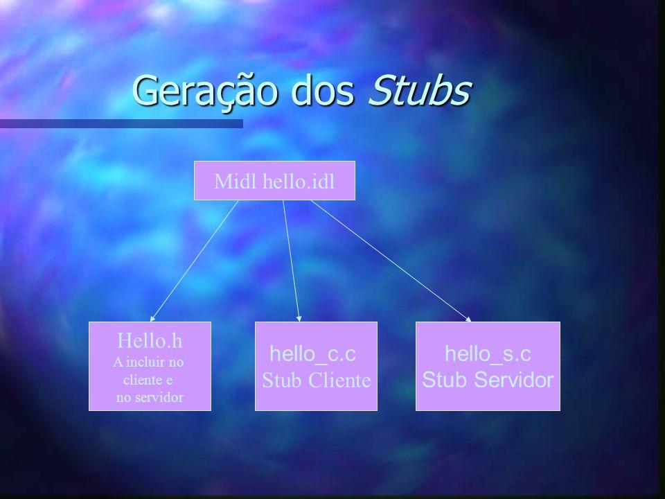 Geração dos Stubs Midl hello.idl Hello.h A incluir no cliente e no servidor hello_c.c Stub Cliente hello_s.c Stub Servidor