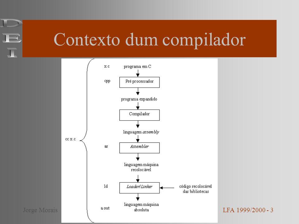 Partes dum compilador Análise –Análise léxica –Análise sintáctica –Análise semântica Geração de saída –Geração de código –Optimização de código LFA 1999/2000 - 4Jorge Morais