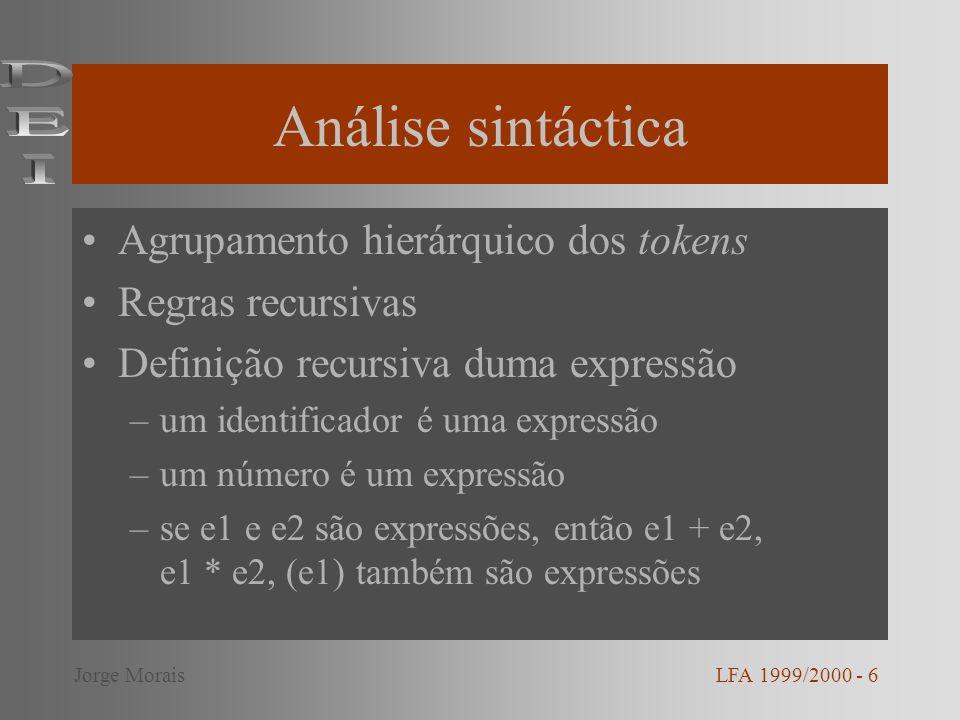 Análise sintáctica (cont.) LFA 1999/2000 - 7Jorge Morais