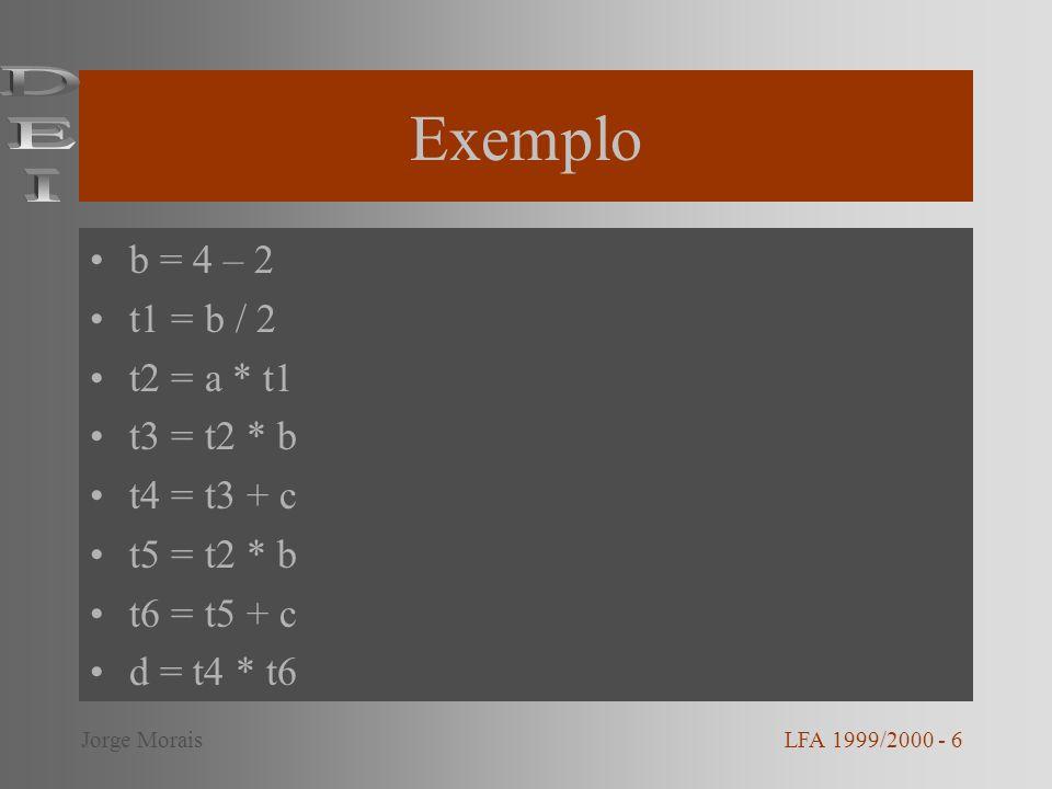Optimização de ciclos Identificação de ciclos –Dominadores –Back edges –Cabeçalho do ciclo –Pré-cabeçalho Elevação de código Variáveis de indução LFA 1999/2000 - 7Jorge Morais