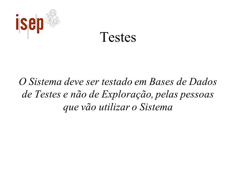 Testes O Sistema deve ser testado em Bases de Dados de Testes e não de Exploração, pelas pessoas que vão utilizar o Sistema