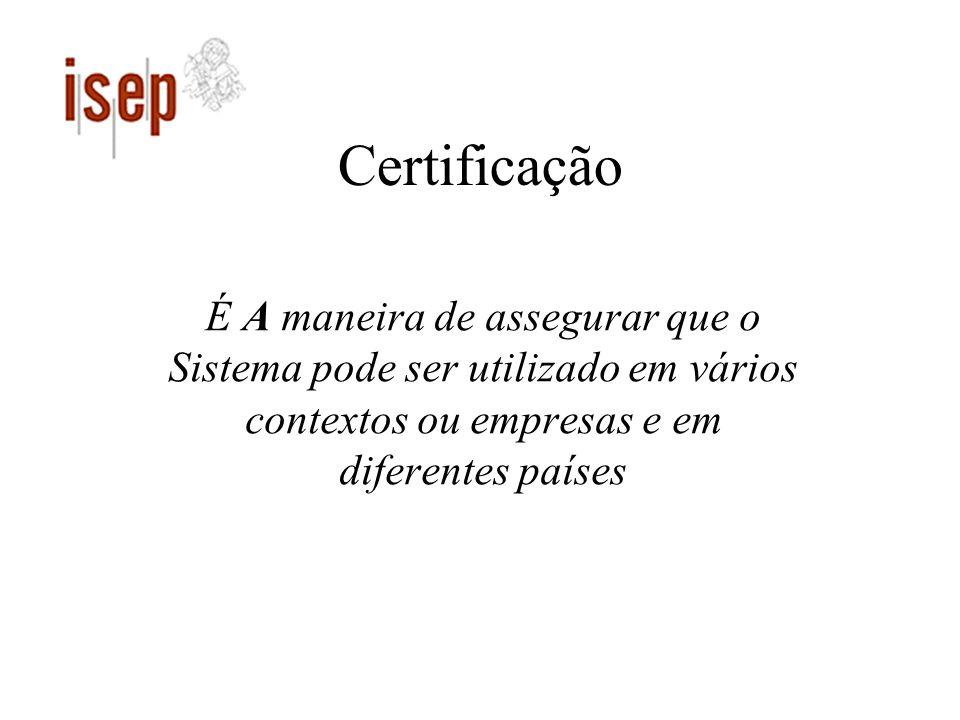 Certificação É A maneira de assegurar que o Sistema pode ser utilizado em vários contextos ou empresas e em diferentes países