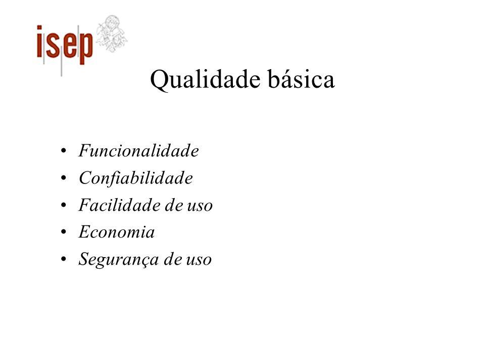 Qualidade básica Funcionalidade Confiabilidade Facilidade de uso Economia Segurança de uso
