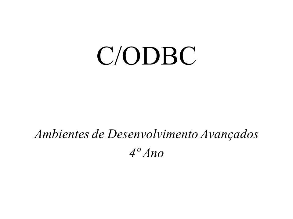 08/10/2001Ambientes de Desenvolvimento Avançados C/OBDC Página 2 Índice O OBDC Arquitectura ODBC Estrutura de uma aplicação API do ODBC