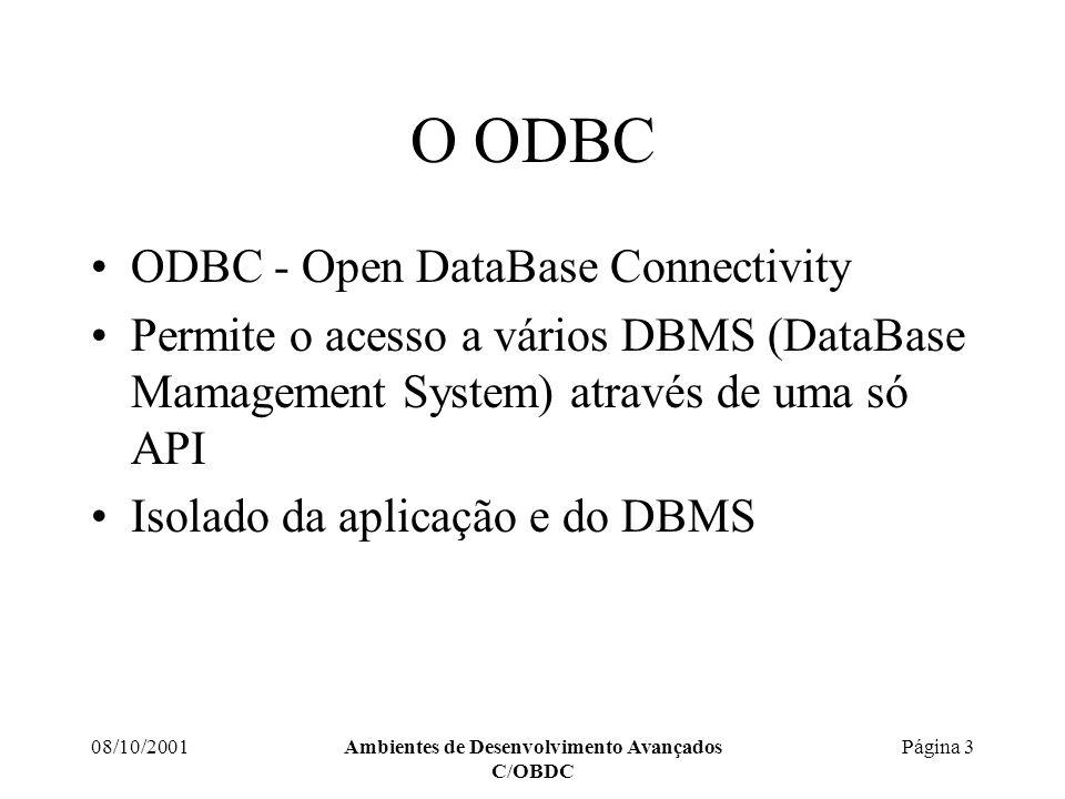 08/10/2001Ambientes de Desenvolvimento Avançados C/OBDC Página 14 API do ODBC Executar um comando SQLHSTMT hStmtDelete; RetCode=SQLAllocHandle(SQL_HANDLE_STMT, hDBC, &hStmtDelete); // Ligar as variáveis da aplicação aos Parameter Markers RetCode=SQLBindParameter(hStmtDelete, 1, SQL_PARAM_INPUT, SQL_INTEGER, SQL_INTEGER, sizeof(int), 0, &iProduto, sizeof(int), &TamProduto); RetCode=SQLPrepare(hStmtDelete, (unsigned char*) DELETE FROM PRODUTOS WHERE ProdutoID = ? , SQL_NTS); RetCode=SQLExecute(hStmtDelete); // Fazer o Commit da transacção RetCode=SQLEndTran(SQL_HANDLE_DBC, hDBC, SQL_COMMIT);